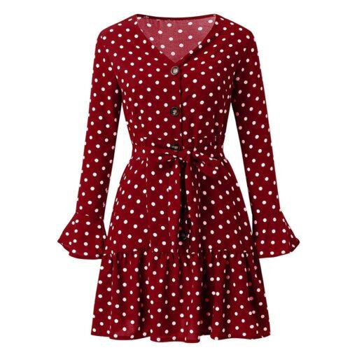 Robes à Pois Courtes##Robe à Pois Courte Longue Automne Manches Longues - coccinelle-paradis