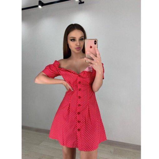 robe courte rouge moulante a pois