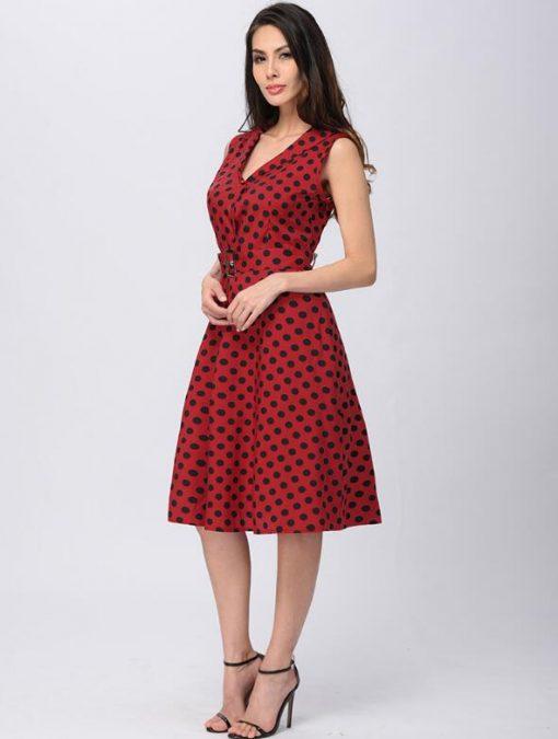 robe rouge à pois noir