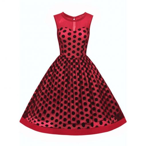 robe a pois annee 50 soiree rouge