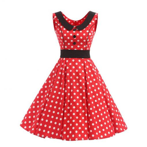 robe rouge a pois blanc vintage