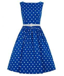 robe pin up bleu à pois blanc