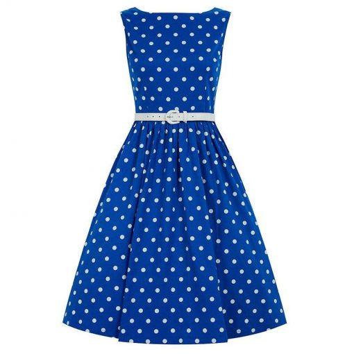 robe pin up bleu à pois blanc