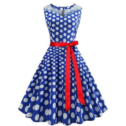 robe a pois annee 50 cache coeur bleu roi