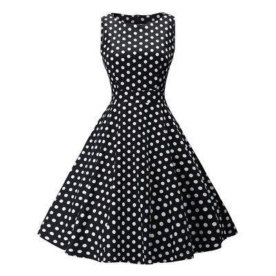 robe a pois annee 50 sans manches cintre noire