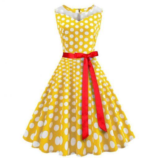 robe a pois annee 50 cache coeur jaune