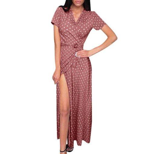 Robe à Pois##Robe à Pois manches vestido plage col en V - coccinelle-paradis