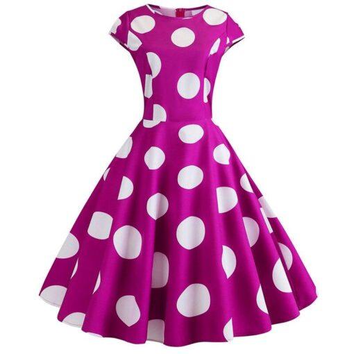 robe a pois année 50 rose