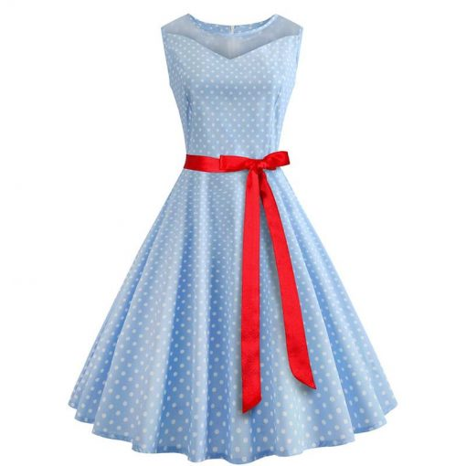 robe a pois annee 50 cache coeur turquoise