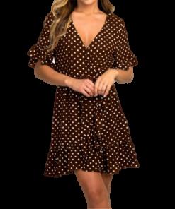 robe marron a pois blanc courte