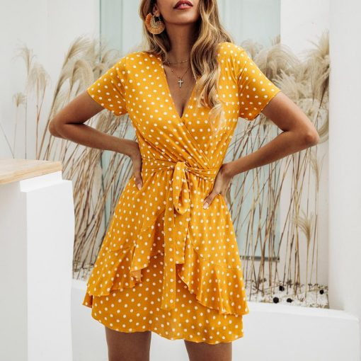 robe jaune fluide a pois