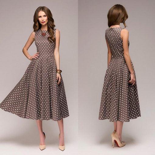 robe à pois année 50 grise