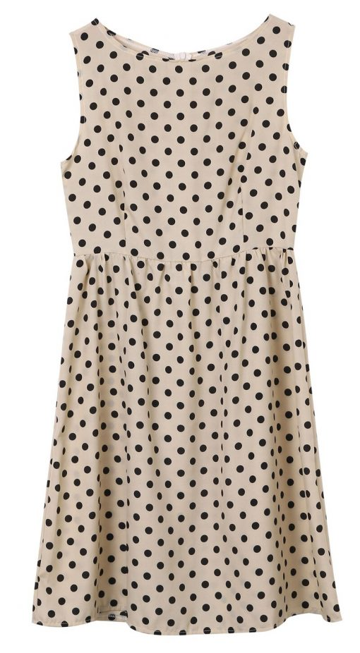 robe pin up beige à pois noire