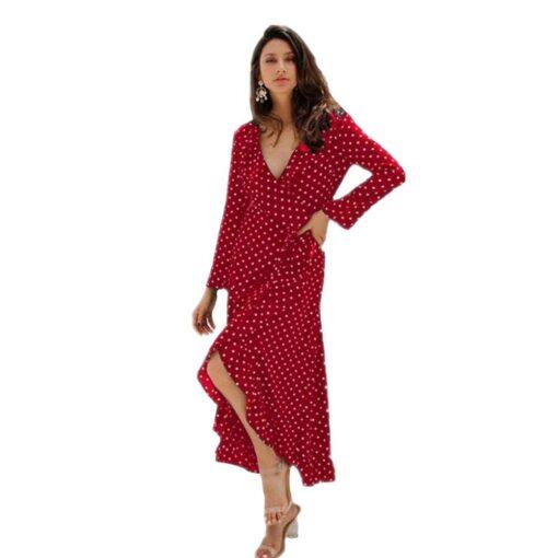robe rouge de soirée a pois velour