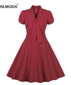 robe a pois rouge vintage