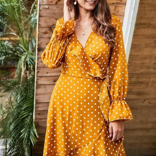 robe longue jaune moutarde