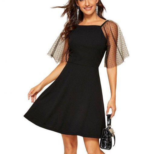robe noir a pois femme manche courte