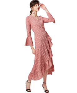 robe longue rose a pois blancs