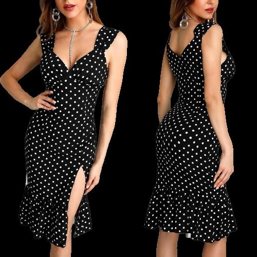 robe dun soir a pois femmes fendue sexy