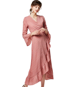 robe rose a pois longue maille