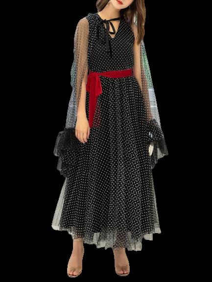 robe longue a pois noir avec manche transparente