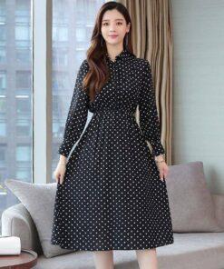 robe longue noire a pois