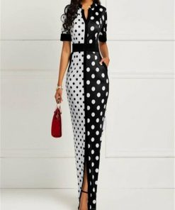 robe courte femme a pois noir et blanc