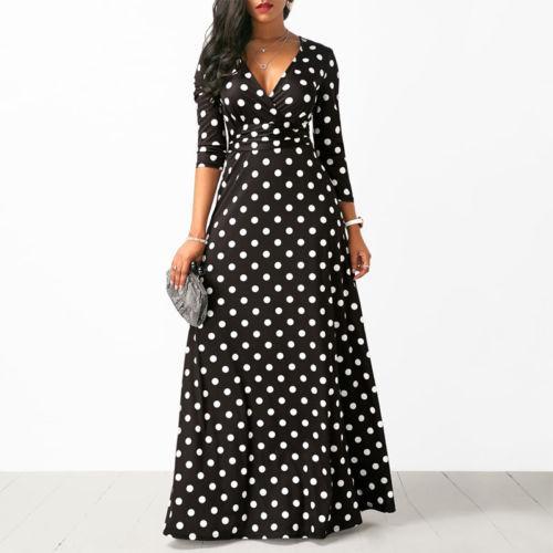 robe longue noire a pois blanc
