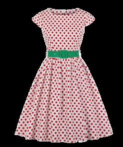 robe vieux rose a pois annee 50