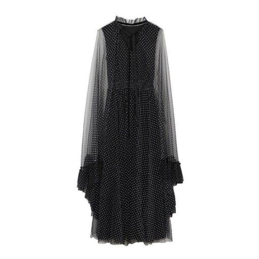 Robe à Pois##Robe à Pois Manches Longues Célébrité Broderies - coccinelle-paradis