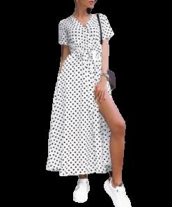 robe longue fendue blanche a pois