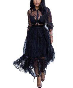 robe de soiree noir longue dentelle