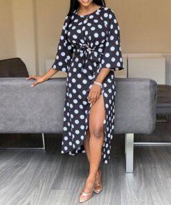 Robe à Pois##Robe à Pois rétro asymétrique Afro - coccinelle-paradis