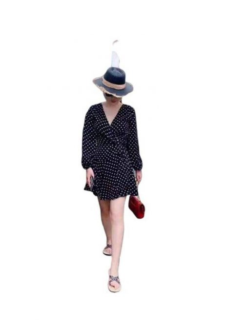 robe longue a pois noir