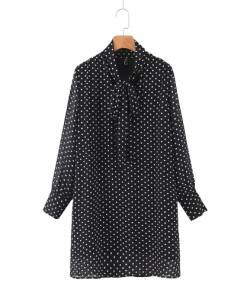 robe col cravate a pois annee 50