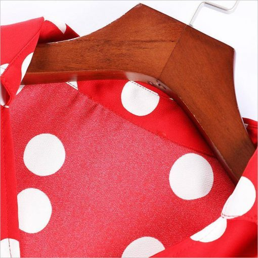 robe longue rouge a pois blanc