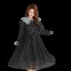 robe noire dentelle blanche a pois annee 50