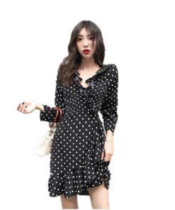robe cintrée noir a pois blanc