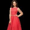 robe rouge fleur soiree a pois