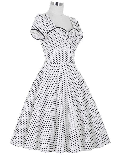 robe pin up noir a pois blanc