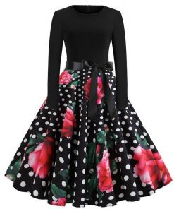 robe retro rouge a pois noir