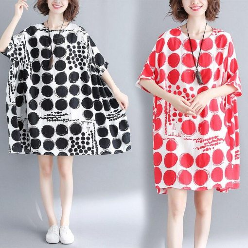 Robes à Pois Courtes##Robe à Pois Courte Silhouettes Courtes Coton - coccinelle-paradis