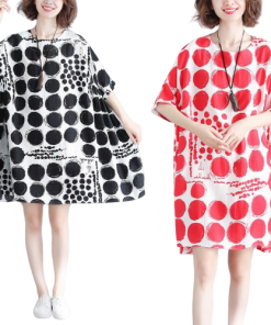 robe poncho plage a pois courte silhouettes coton