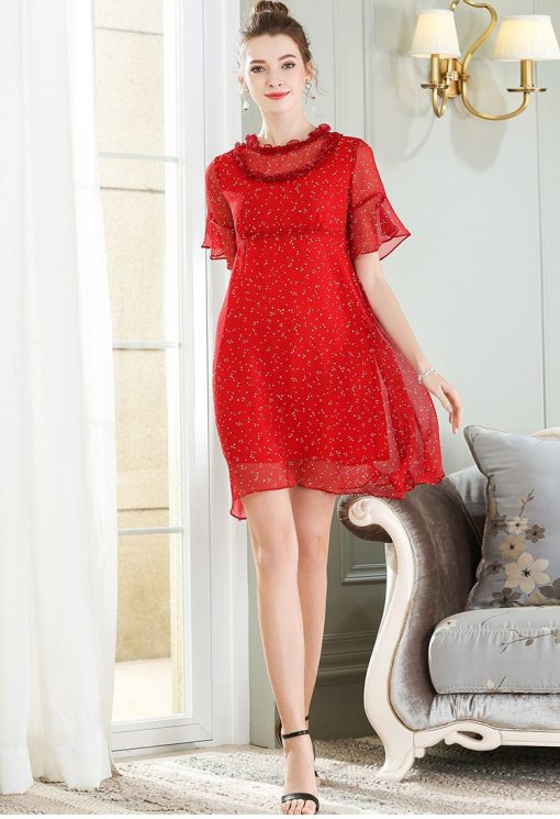 robe rouge a pois blanc fille