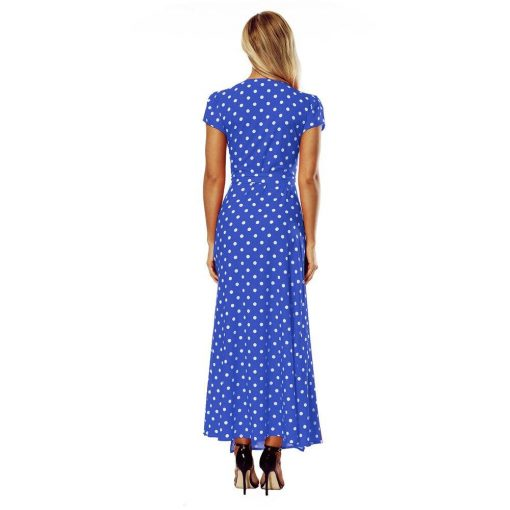 Robe à Pois#robe bleu marine pois#Robe à Pois Bleu Marine  Fente Fille - coccinelle-paradis