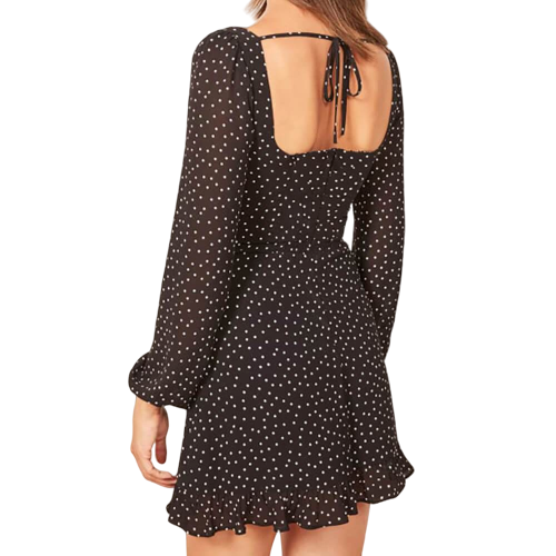 robe dos nu plongeant chic a pois courte