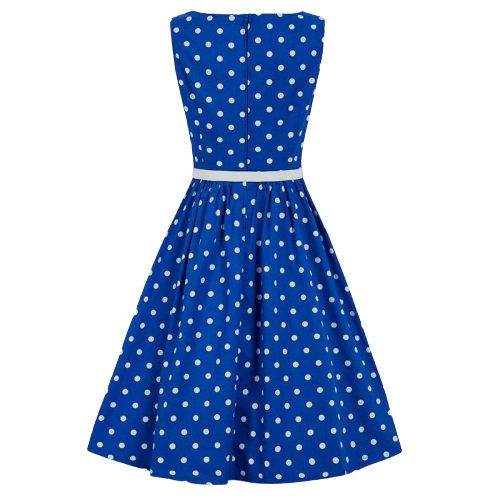 robe cocktail bleu roi a pois annee 50