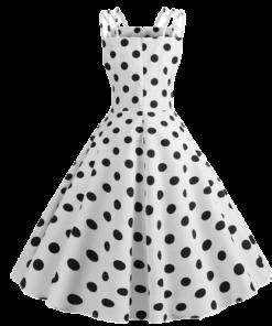 robe vintage annee 50 noire a pois blancs