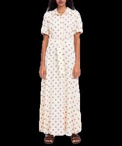 robe boheme longue blanche a pois