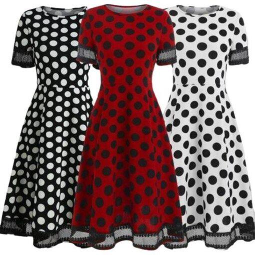 robe retro droite vintage a pois